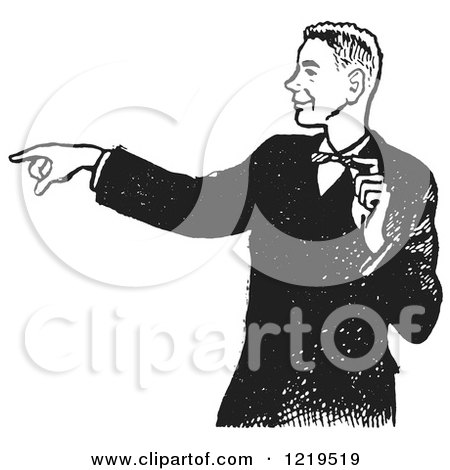 Retro Clipart of a Black and White Retro Pointing Teenage Boy in a Tux - Royalty Free Vector Illustration by Picsburg