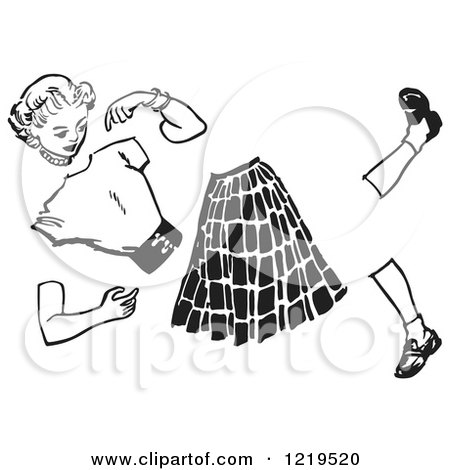 Retro Clipart of a Black and White Retro Teenage Teenage Girl Split Apart - Royalty Free Vector Illustration by Picsburg
