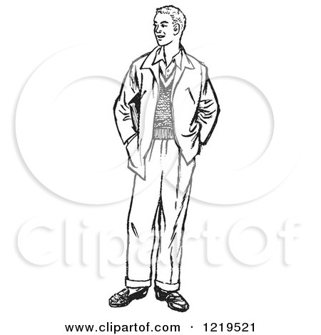 Retro Clipart of a Black and White Retro Teenage Guy Standing with His Hands in His Pockets - Royalty Free Vector Illustration by Picsburg