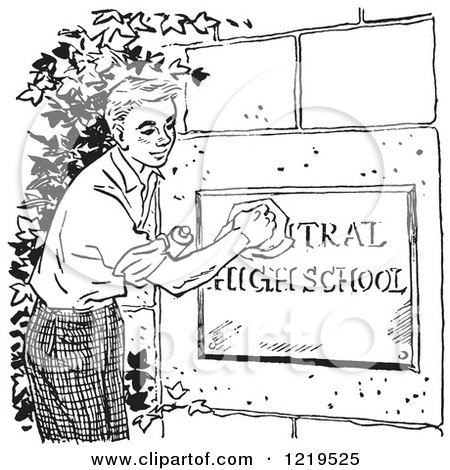 Retro Clipart of a Black and White Retro Teenage Boy Polishing a High School Sign - Royalty Free Vector Illustration by Picsburg
