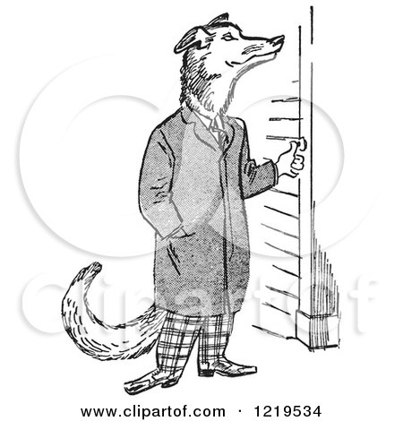 Retro Clipart of a Black and White Retro Teenage Boy Depicted As a Wolf, Ringing a Doorbell - Royalty Free Vector Illustration by Picsburg