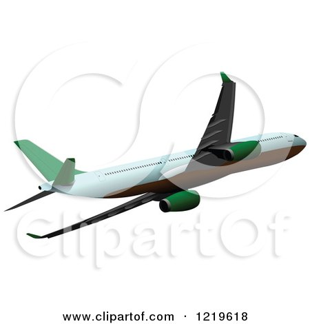 Clipart of a Commerial Airliner - Royalty Free Vector Illustration by leonid