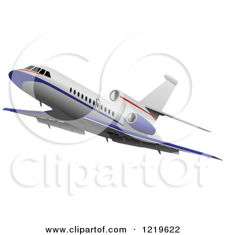 Clipart of a Commerial Airliner 4 - Royalty Free Vector Illustration by leonid