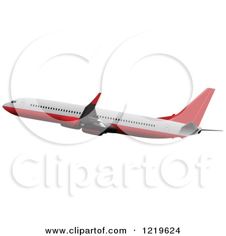 Clipart of a Commerial Airliner 3 - Royalty Free Vector Illustration by leonid