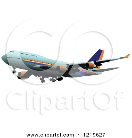 Clipart of a Commerial Airliner 6 - Royalty Free Vector Illustration by leonid