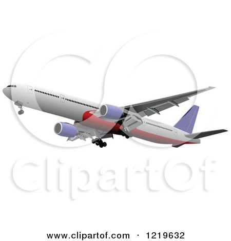 Clipart of a Commerial Airliner 10 - Royalty Free Vector Illustration by leonid