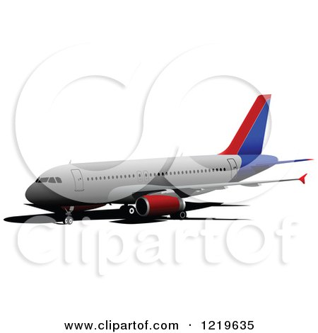 Clipart of a Commerial Airliner 13 - Royalty Free Vector Illustration by leonid
