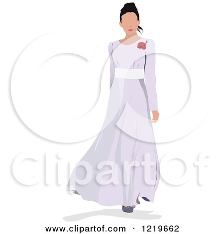 Clipart of a Bride Modeling a Dress - Royalty Free Vector Illustration by leonid