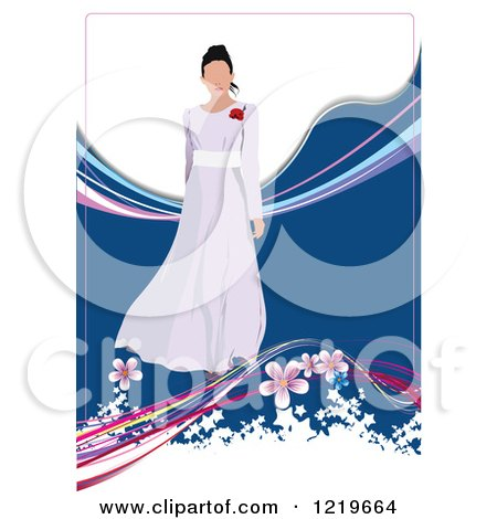 Clipart of a Bride Modeling a Dress 2 - Royalty Free Vector Illustration by leonid