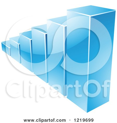 Clipart of a 3d Blue Bar Graph - Royalty Free Vector Illustration by cidepix
