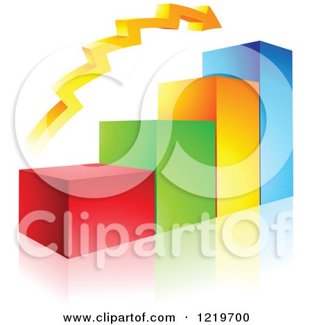 Clipart of a 3d Colorful Bar Graph and Arrow - Royalty Free Vector Illustration by cidepix