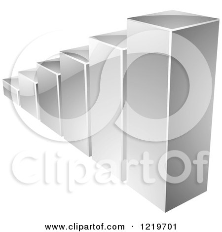 Clipart of a 3d Silver Bar Graph - Royalty Free Vector Illustration by cidepix