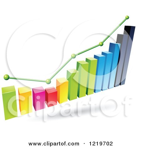 Clipart of a 3d Colorful Bar Graph and Marked Areas - Royalty Free Vector Illustration by cidepix