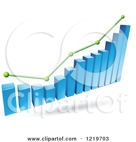Clipart of a 3d Blue Bar Graph and Green Marked Areas - Royalty Free Vector Illustration by cidepix