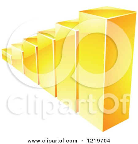Clipart of a 3d Golden Bar Graph - Royalty Free Vector Illustration by cidepix