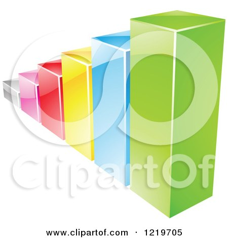 Clipart of a 3d Colorful Bar Graph - Royalty Free Vector Illustration by cidepix