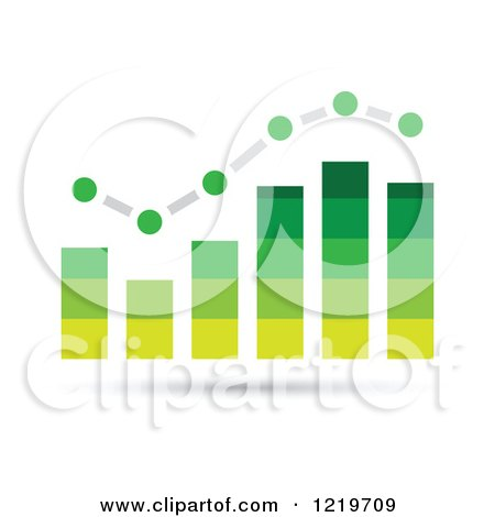 Clipart of a Green Bar Graph and Marked Areas - Royalty Free Vector Illustration by cidepix