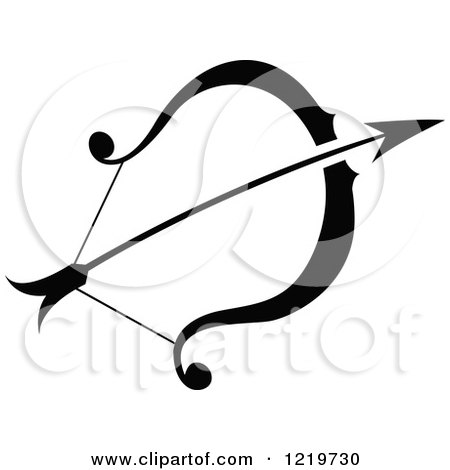Clipart of a Black and White Astrology Sagittarius Bow and Arrow Zodiac Star Sign - Royalty Free Vector Illustration by cidepix