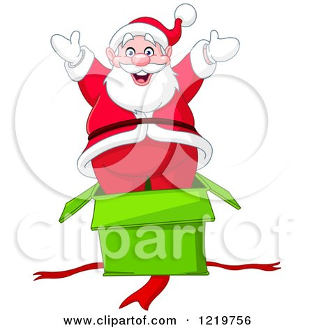 Clipart of Santa Claus Popping out of a Surprise Gift Box - Royalty Free Vector Illustration by yayayoyo
