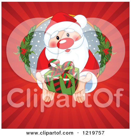 Clipart of Santa Reaching out of a Hole and Holding a Gift Through Rays - Royalty Free Vector Illustration by Pushkin