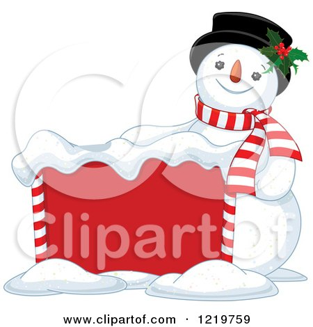 Clipart of a Happy Christmas Snowman by a Sign - Royalty Free Vector Illustration by Pushkin