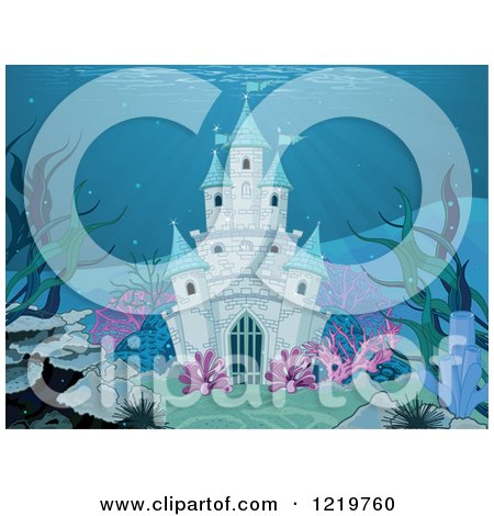 Clipart of an Underwater Mermaid Castle - Royalty Free Vector Illustration by Pushkin
