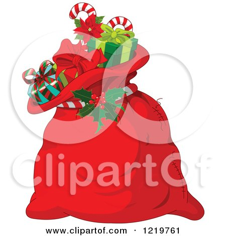 Clipart of a Red Santas Sack Full of Christmas Presents - Royalty Free Vector Illustration by Pushkin