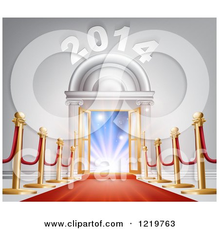 Clipart of a Red Carpet Leading to a New Year Doorway - Royalty Free Vector Illustration by AtStockIllustration