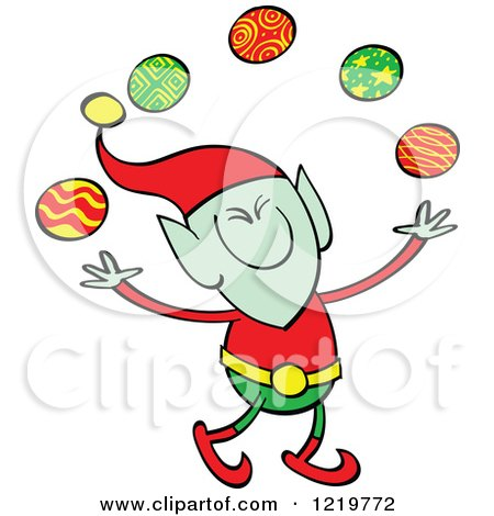 Clipart of a Christmas Elf Juggling Baubles - Royalty Free Vector Illustration by Zooco