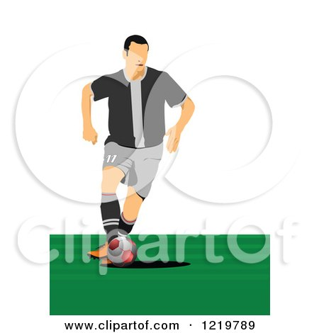 Clipart of a Soccer Player 2 - Royalty Free Vector Illustration by leonid