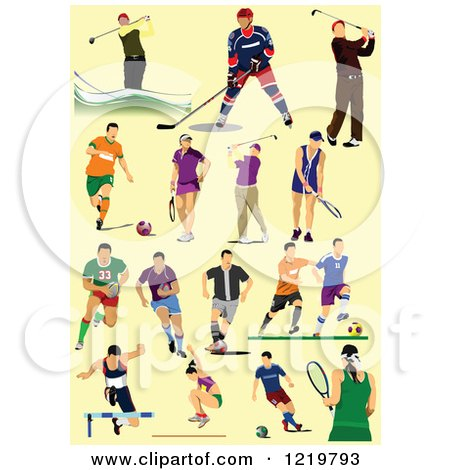 Clipart of Athletes on Yellow - Royalty Free Vector Illustration by leonid