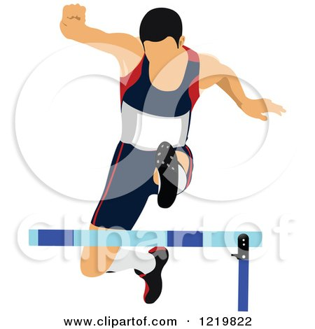 Clipart of a Runner Leaping a Hurdle - Royalty Free Vector Illustration by leonid