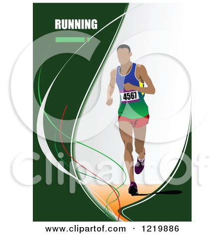 Clipart of a Runner with Text - Royalty Free Vector Illustration by leonid