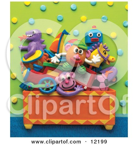 Clay Sculpture Clipart Toys Stacked In A Chest In A Play Room Royalty Free 3d Illustration