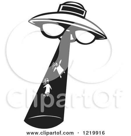 Clipart of a UFO Abducting Girls Woodcut in Black and White - Royalty Free Vector Illustration by xunantunich