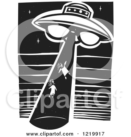 Clipart of a UFO Abducting Children Woodcut in Black and White - Royalty Free Vector Illustration by xunantunich
