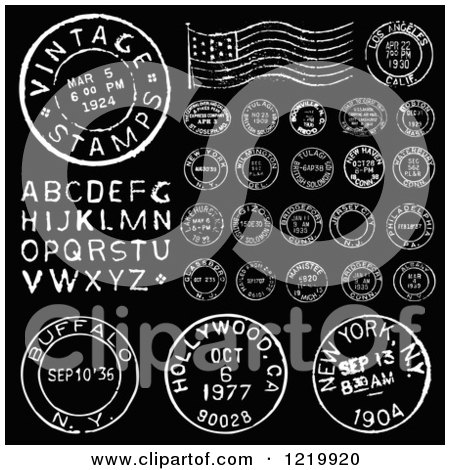 Clipart of Vintage Black and White Postmark Stamps and Letters 2 - Royalty Free Vector Illustration by BestVector