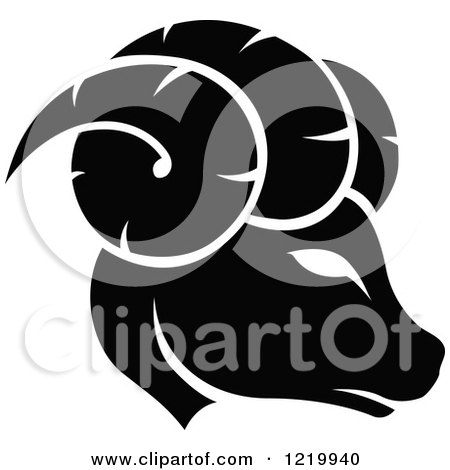 Clipart of a Black and White Astrology Aries Ram Zodiac Star Sign - Royalty Free Vector Illustration by cidepix