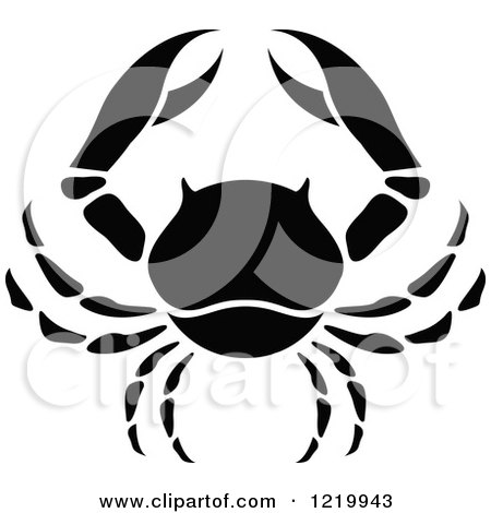 Clipart of a Black and White Astrology Cancer Crab Zodiac Star Sign - Royalty Free Vector Illustration by cidepix