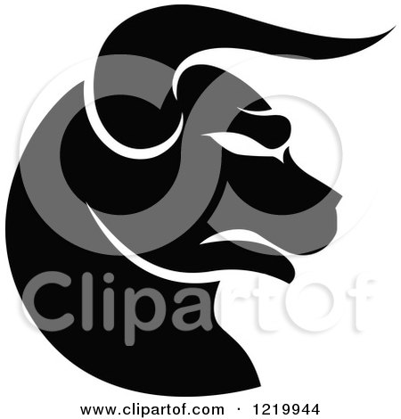 Clipart of a Black and White Astrology Taurus Bull Zodiac Star Sign - Royalty Free Vector Illustration by cidepix