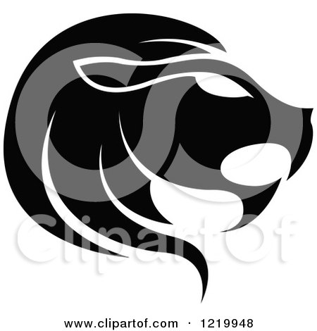 Clipart of a Black and White Astrology Leo Lion Zodiac Star Sign - Royalty Free Vector Illustration by cidepix