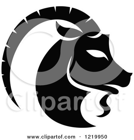 Clipart of a Black and White Astrology Capricorn Sea Goat Zodiac Star Sign - Royalty Free Vector Illustration by cidepix