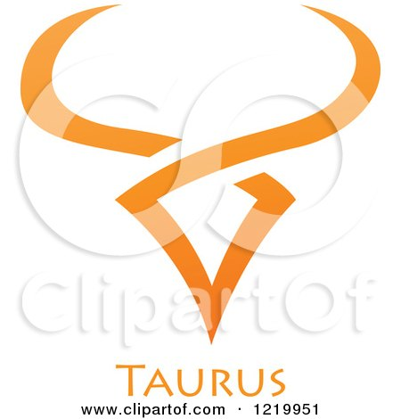 Clipart of an Orange Astrology Taurus Bull Zodiac Star Sign - Royalty Free Vector Illustration by cidepix
