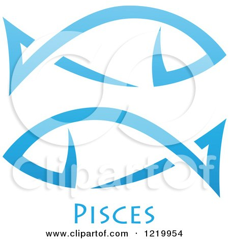 Clipart of a Blue Astrology Pisces Fish Zodiac Star Sign - Royalty ...