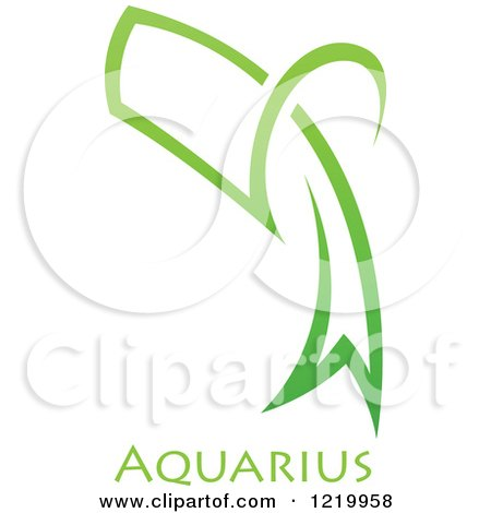 Clipart of a Green Astrology Aquarius Water Jug Zodiac Star Sign - Royalty Free Vector Illustration by cidepix