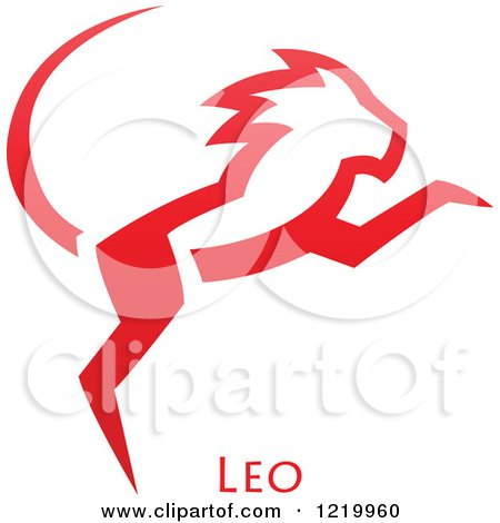Clipart of a Red Astrology Leo Lion Zodiac Star Sign - Royalty Free Vector Illustration by cidepix