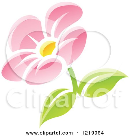 Clipart of a Pink Daisy Flower with Green Leaves - Royalty Free Vector Illustration by cidepix