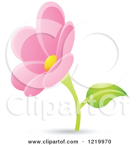 Clipart of a Pink Daisy Flower - Royalty Free Vector Illustration by cidepix