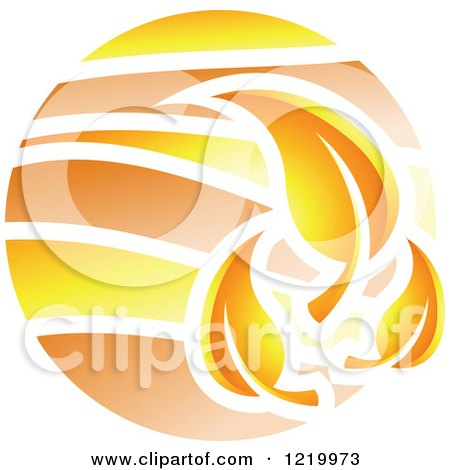 Clipart of a Fall Autumn Leaf Icon - Royalty Free Vector Illustration by cidepix