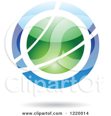 Clipart of a Green and Blue Sphere Icon - Royalty Free Vector Illustration by cidepix